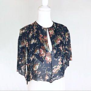 Zara navy blue floral keyhole sheer top blouse